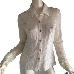 Military style cream lace blouse